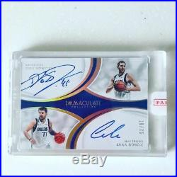 Luka Doncic Dirk Nowitzki 2018-19 Panini Immaculate Dual Auto Redemption /25 Ssp