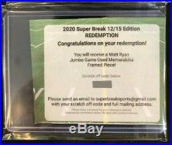 MATT RYAN 2020 Super Break JUMBO GAME USED FRAMED PIECE JERSEY REDEMPTION