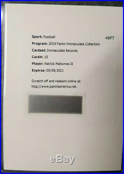 Patrick Mahomes 2019 Immaculate (#/15) Immaculate Records Auto Redemption