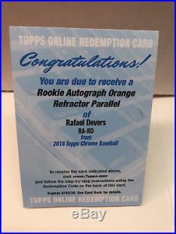 Rafael Devers Topps Chrome 2018 Orange AUTO REDEMPTION #d /25 ROOKIE Red Sox