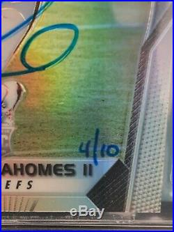 Rare SB MVP Patrick Mahomes Rookie 2017 Prizm on card Auto 4/10