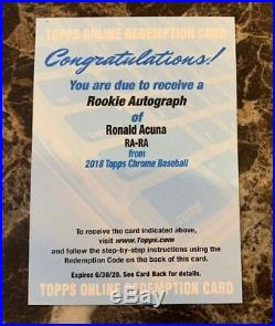 Ronald Acuna 2018 Topps Chrome Rookie Auto Redemption Un-redeemed Braves