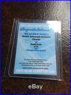 Ronald Acuna Rookie Autograph Refractor Parallel 2018 Topps Chrome Redemption