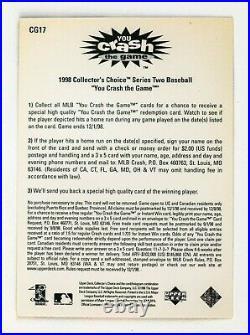 Sammy Sosa #CG17 (1998 Collectors Choice) Crash Game Redemption, Chicago Cubs