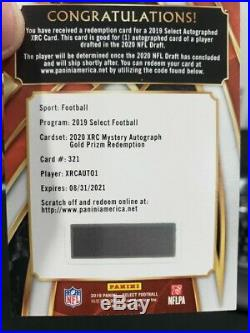 Shipped2019 Select Football 2020 XRC Mystery Autograph Gold Prizm Redemption SSP