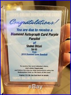 Shohei Ohtani Diamond Autograph Card Purple Parallel /10 2018 Auto Redemption