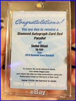 Shohei Ohtani Diamond Autograph Card Red Parallel /5 2018 Rc Auto Redemption