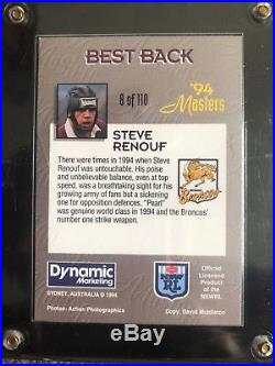Steve Renouf Autographed card with Authetication card and Redemption card Cased