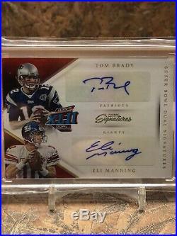 Tom Brady Eli Manning 2016 Prime Signatures Super Bowl XLII Dual Auto 1/1