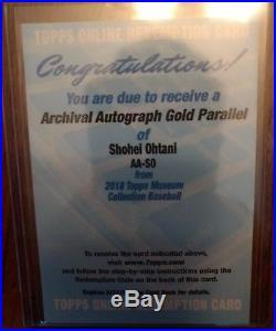 Topps Redemption Shohei Ohtani Archival Autograph Gold PARALLEL 2018 /25 AUTO