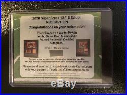WALTER PAYTON 2020 Super Break JUMBO GAME USED FRAMED PIECE AUTO REDEMPTION