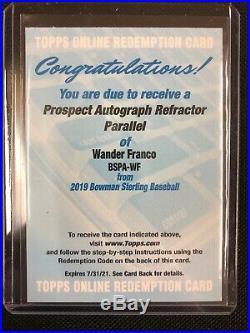 Wander Franco 2019 Bowman Sterling Prospect Refractor /150 Auto Redemption RC SP